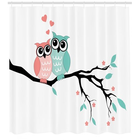 Teal and White Shower Curtain, Cute Owl Couple Sitting on Tree Branch Valentines Romance Love, Fabric Bathroom Set with Hooks, Turquoise Coral Black, by Ambesonne ()