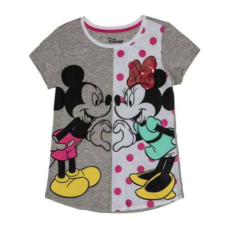 Love Always Mickey and Minnie Sequin Graphic T-Shirt (Little Girls & Big - Little Miss Love Tee