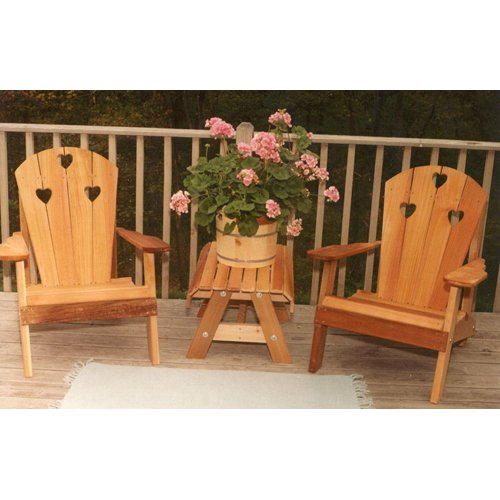 Creekvine Designs Country Hearts Cedar Adirondack Chairs and Side Table 3 pc. Set by Creekvine Designs Inc