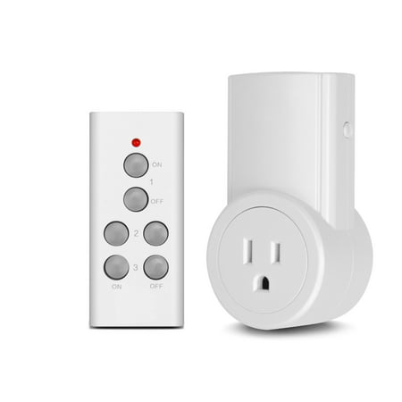 Etekcity Wireless Remote Control Electrical Outlet Switch for Household Appliances, White (Learning Code, 1Rx-1Tx)