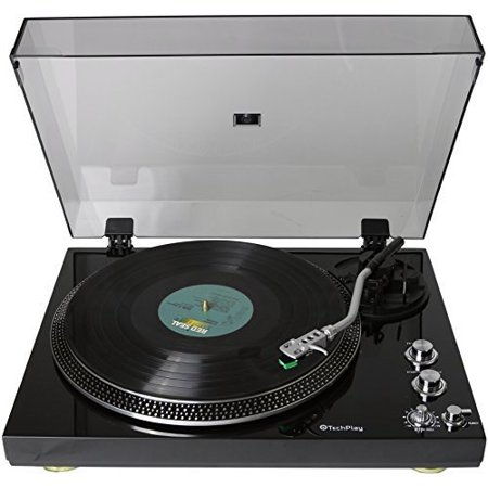 TechPlay TCP4530 Analog Turntable with Built-in Phono Pre-amplifier, By-Pass selecter, Auto-Return, Aluminum Platter and direct PC Link, with Audio-Technica's AT95E