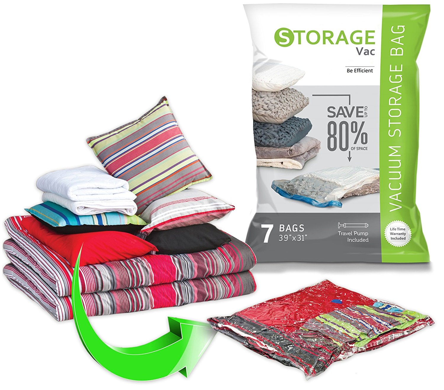 Space Saver Vacuum Storage Bags 7 Pack Jumbo 40x30 With Travel Pump