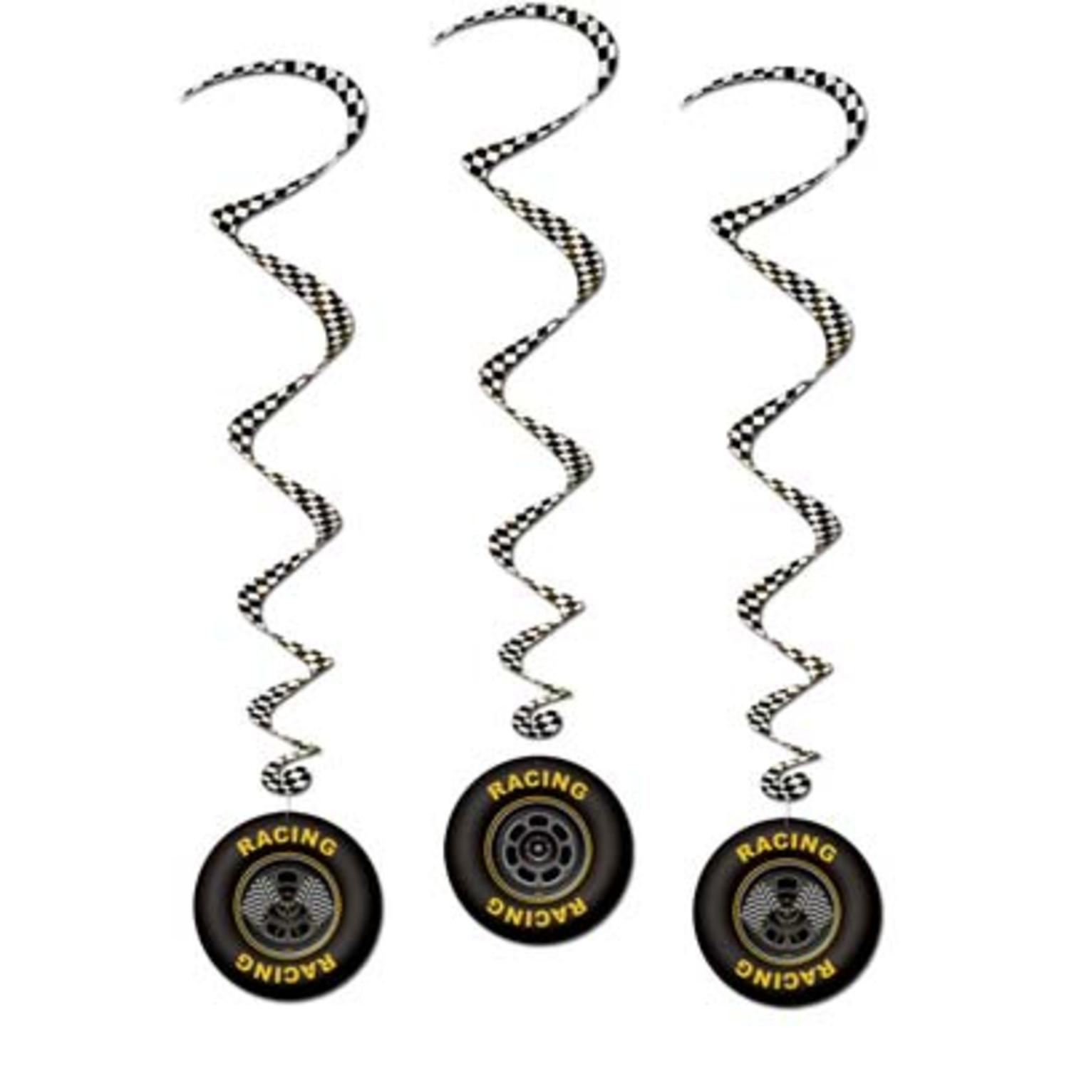 Pack of 18 Car Racing Tire Black and White Checkered Hanging Party Decoration Whirls 40""