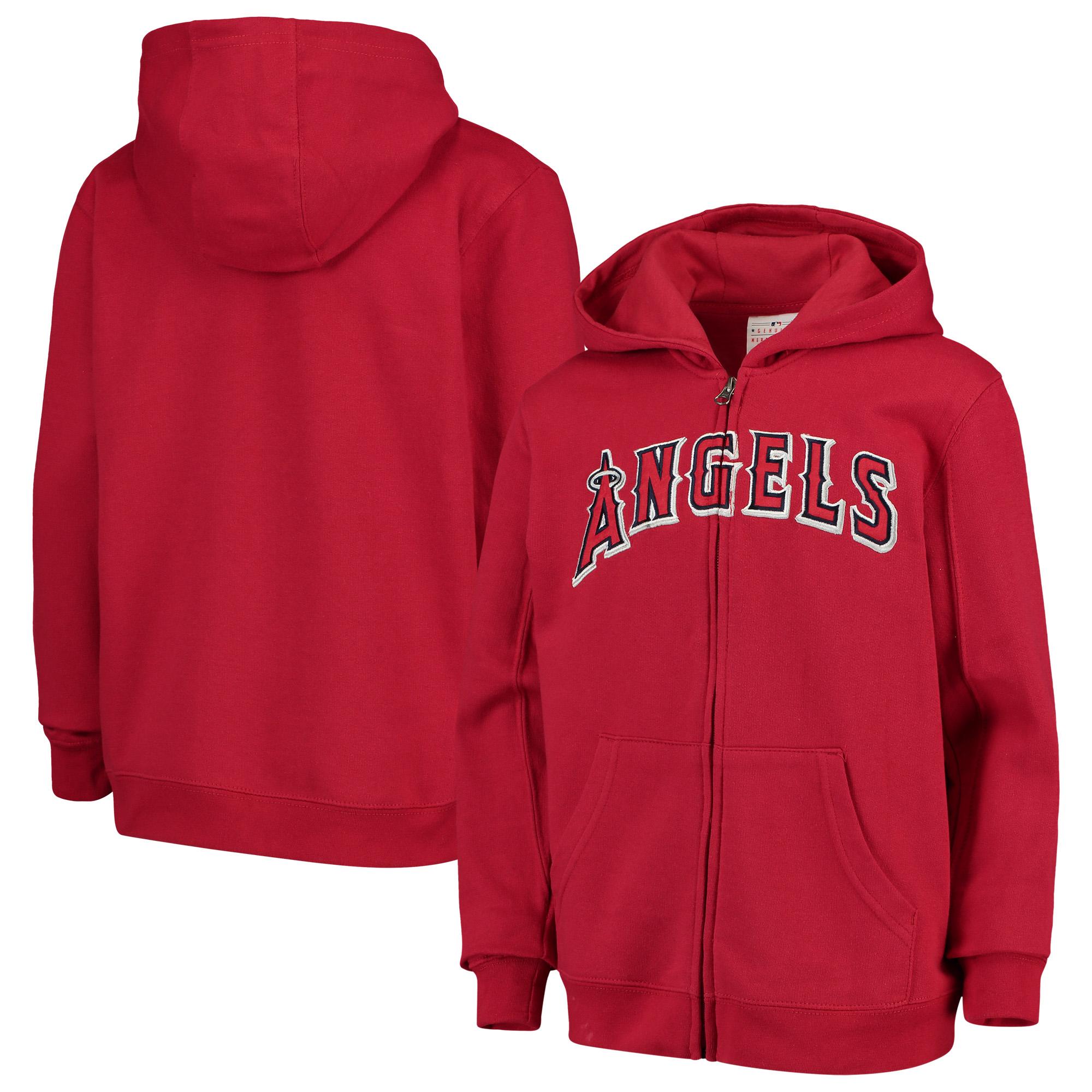 Los Angeles Angels Youth Team Color Wordmark Full-Zip Hoodie - Red