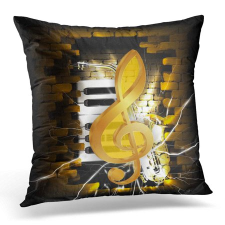 CMFUN Black Abstract Golden Treble Clef on of Brick Wall and Saxophone and Piano Keys White Guitar Pillow Case Pillow Cover 20x20 inch