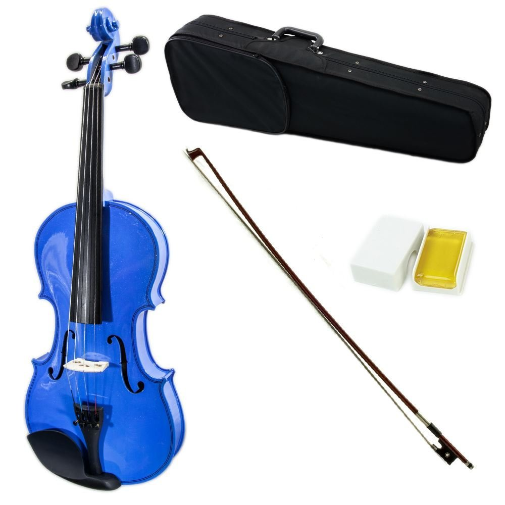SKY Full Size VN202 Solidwood Blue Violin Beautiful Purfling with Brazilwood Bow and Lightweight Case