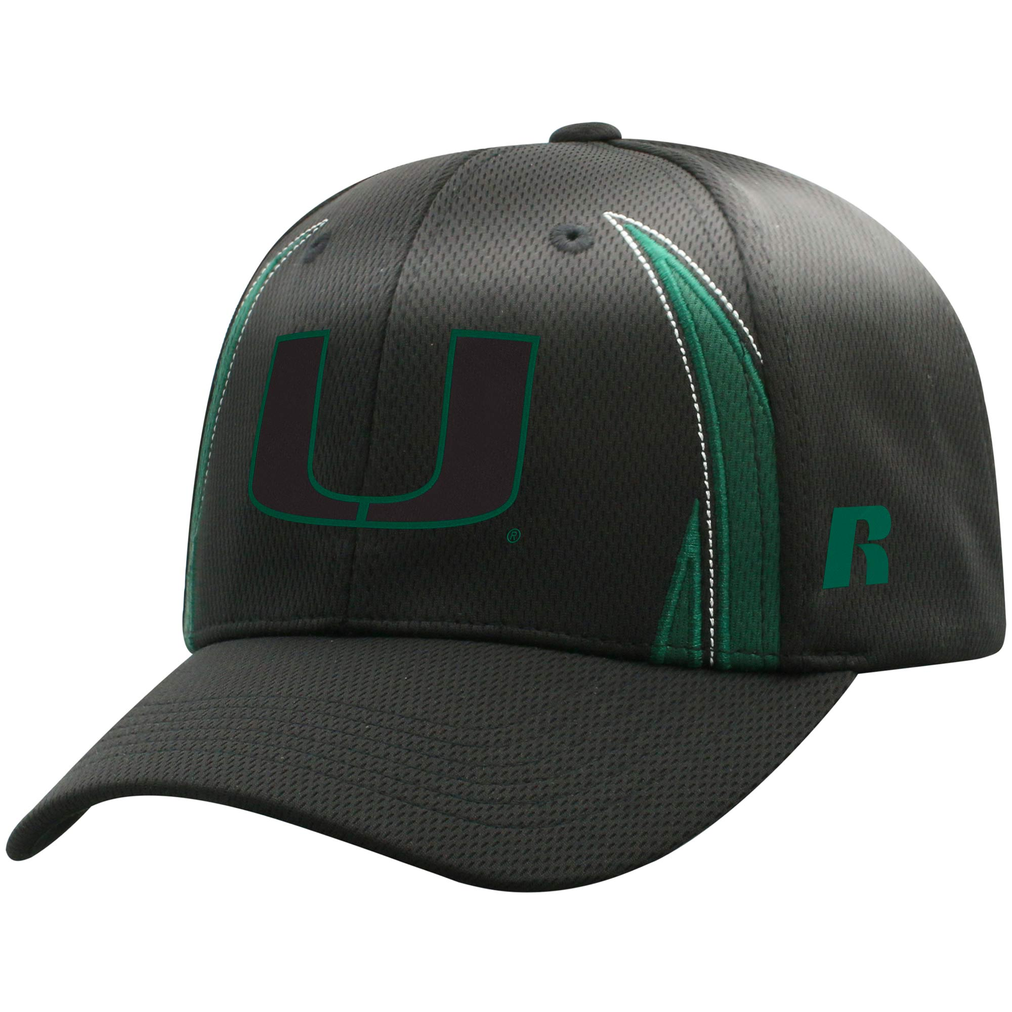 Men's Russell Black Miami Hurricanes React Adjustable Hat - OSFA