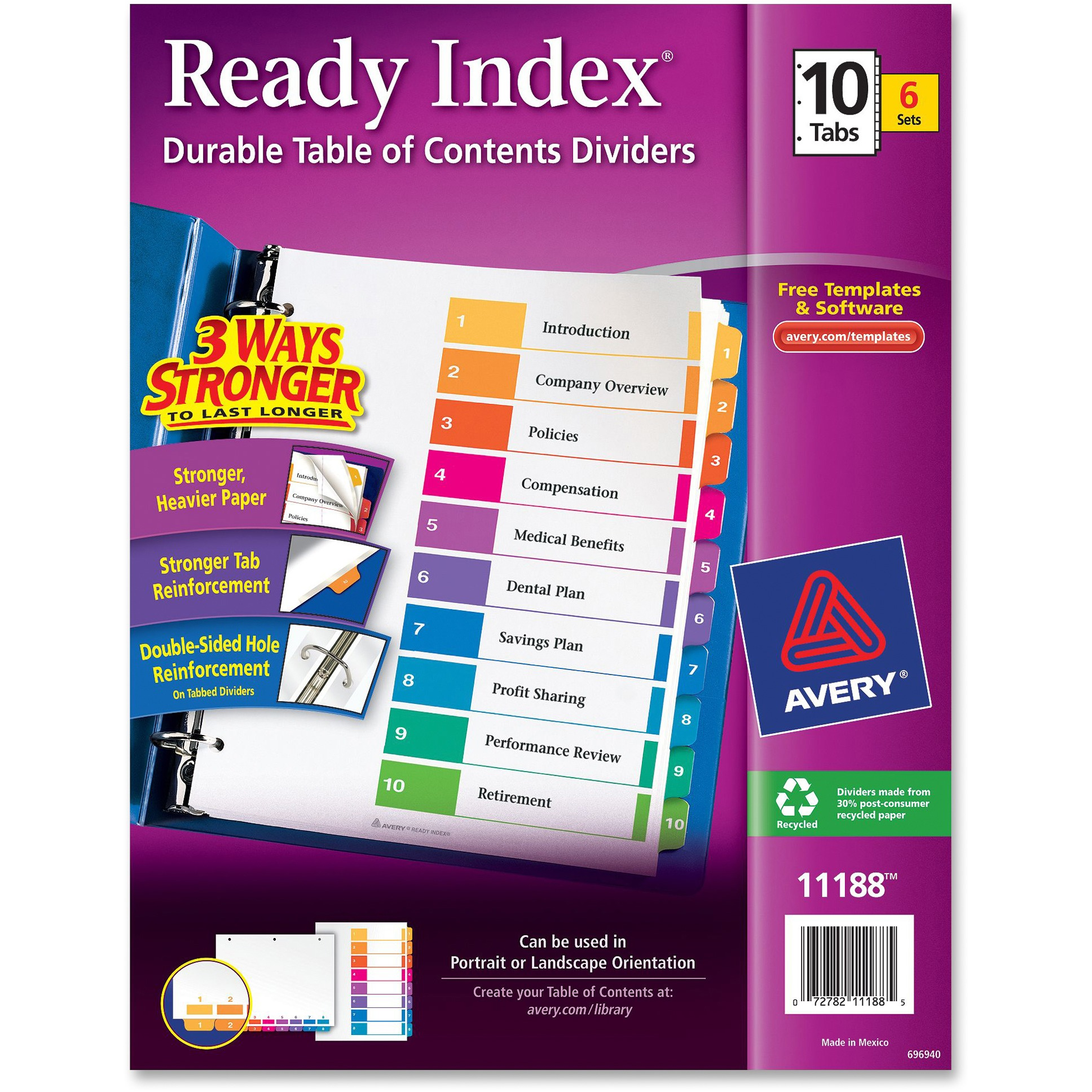 Avery Ready Index Table of Contents Dividers, 10 Tab, Assorted Colors, 6 Count (11188)