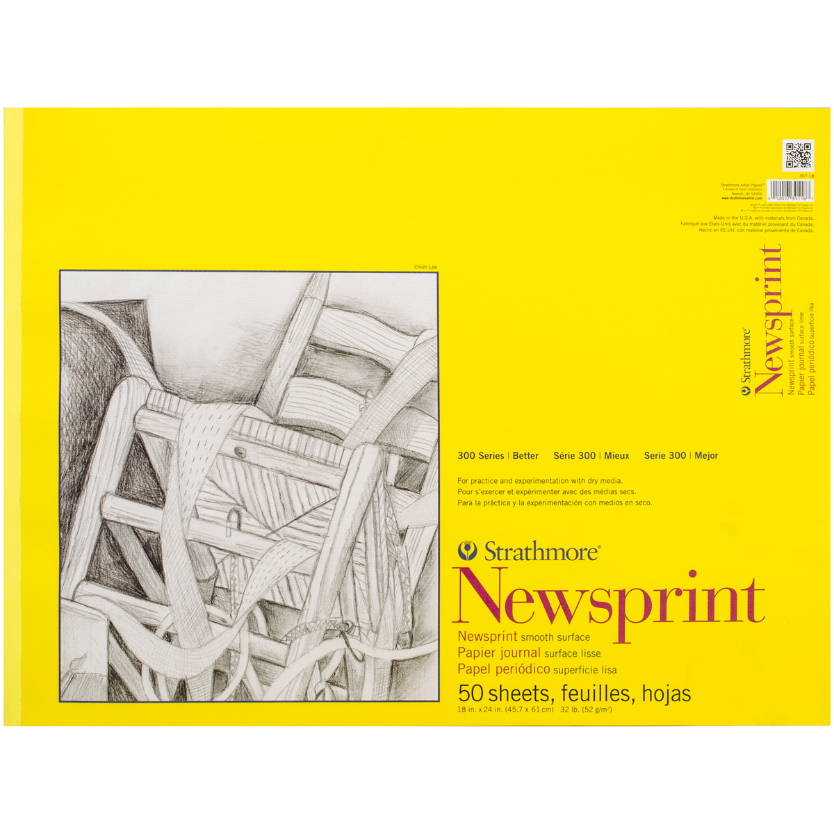 Strathmore Smooth Newsprint Paper Pad 18x24 50 Sheets 307018
