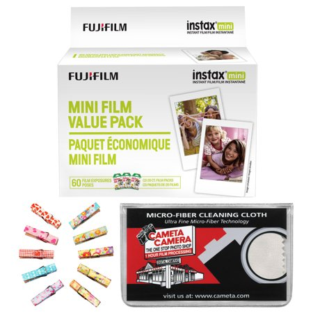 Fujifilm Instax Mini Instant Film Value Pack 60 Color Prints With Wood Peg Clips