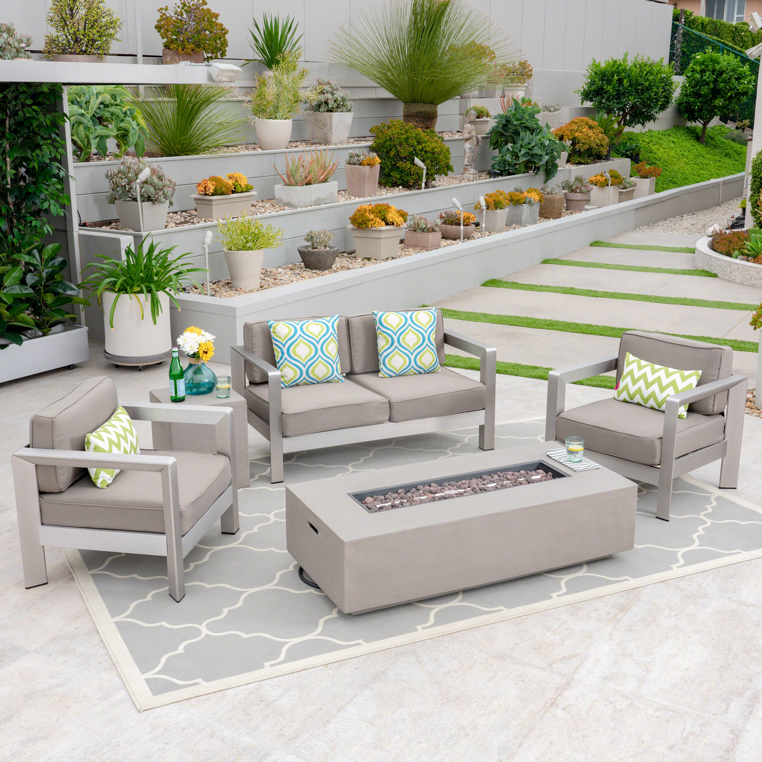 Vincent Outdoor 5 Piece Aluminum Chat Set with Fire Pit and Tank Holder, Silver, Khaki, Light Gray