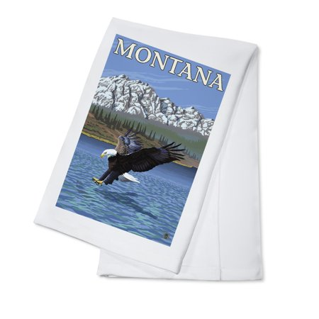 Bald Eagle Diving   Montana   Lp Original Poster  100  Cotton Kitchen Towel
