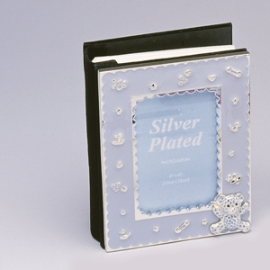 "BLUE 4""x6"" BABY ALBUM WITH AUSTRIAN CRYSTAL"