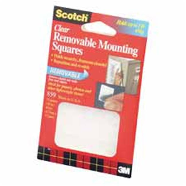 3M MMM859 Adhesive Mounting Squares- Removable- . 69inchx. 69inch- Clear