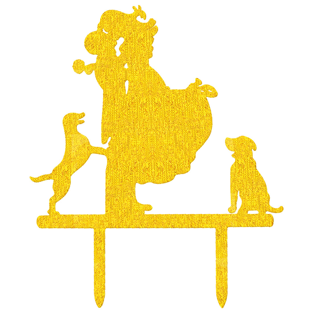Gift Acrylic Couple Dog Silhouette DIY Wedding Decoration Cake Topper Gold Tone