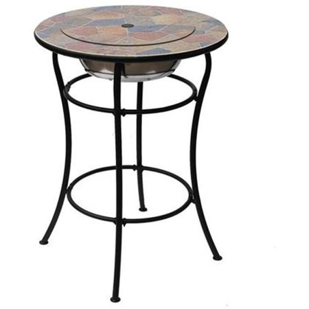 Image of Deeco Consumer Products DM-13002H Rock Canyon Classico Bar Table, Mixed Slate - 30 x 30 x 39.5 in.
