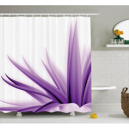 Flower Shower Curtain Purple Ombre Style Long Leaves Water Colored Print With Calming Details Image