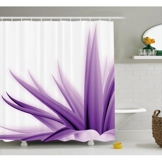 Flower Decor Shower Curtain, Purple Ombre Long Leaves Water ...
