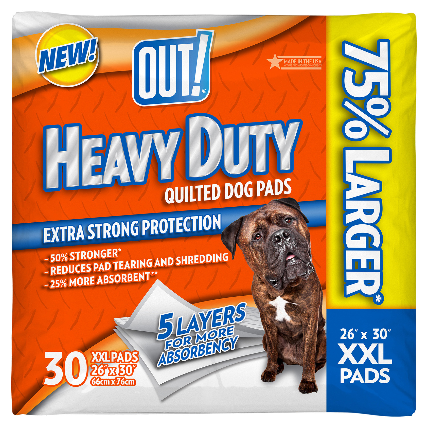 OUT! Heavy Duty XXL Dog Pads, 26 x 30, 30 pads