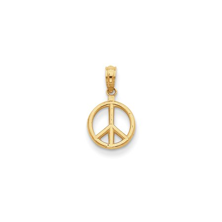 14K Yellow Gold Polished Peace Symbol Pendant 15mm x 10mm