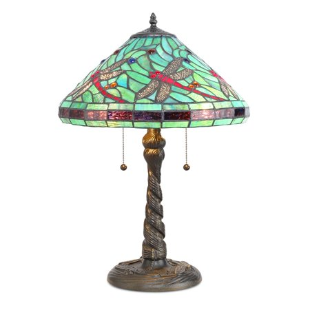 - Serena d'italia Tiffany 2 light Turquoise Dragonfly 21 in. Bronze Table Lamp