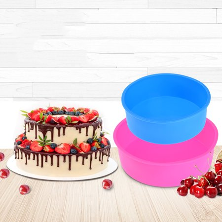 Allcaca Non-stick Silicone Cake Pan Non-toxic Silicone Cheesecake Pan Round Silicone Bakeware Pan with Different Sizes for Baking Double-layer Cake, 8 Inch and 6 Inch, Set of 2, Multi Color (Layered Cheesecake)