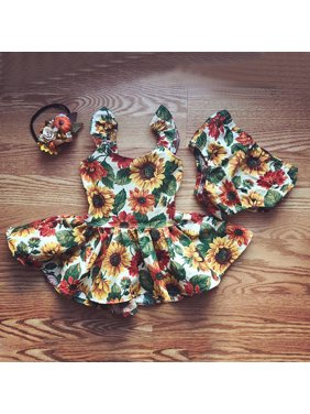 2PCS Infant Toddler Baby Girl Flower Outfit Clothes Top Dresses+ Floral Panties Clothes Set 0-6 Months
