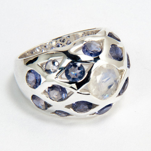 Sitara Jewelry Sterling Silver Rainbow and Iolite Ring