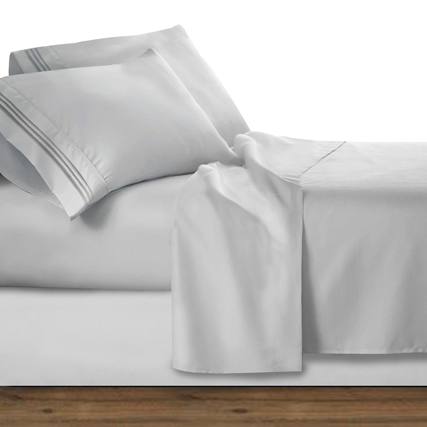 """Premier 1800 Collection Deluxe Microfiber Three Line Bed Sheet Set, Silver Light Gray, Queen, Queen-size 4pc set: flat sheet 102""""x90"""" (259x228cm), fitted sheet 80""""x60"""".., By Clara Clark,USA"""