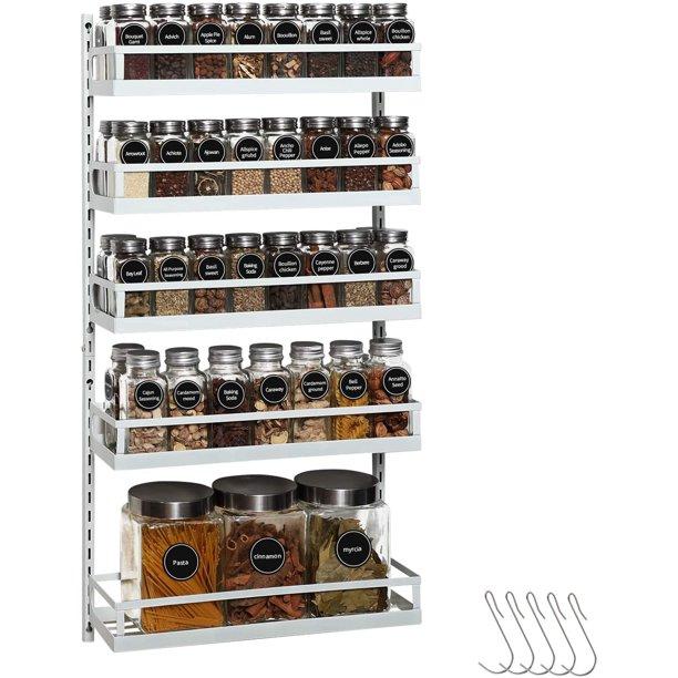 Wall Mount Spice Rack Organizer 5 Tier, Kitchen Pantry Hanging Rack