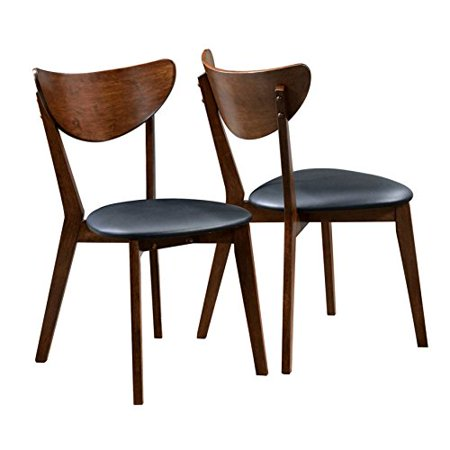 ModHaus Living Traditional Solid Wood Dark Walnut and Black Seat Dining Chairs with Soft Leatherette Upholstery (Set of 2) - Includes