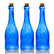 BULK PACK (3) Stella Blue Vintage Glass Bottle Wedding Flower Vase