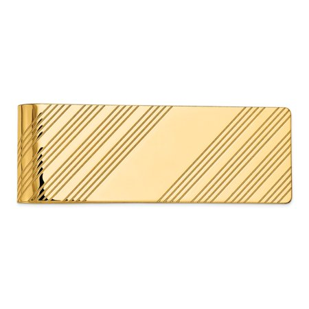 Yellow Gold Carved Money Clip - 14K Yellow Gold Polished Engravable Money Clip
