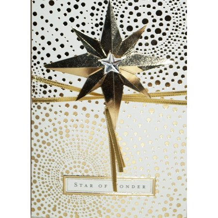 Hallmark PX2425 3-D Golden Star - Star of Wonder, 8 Cards - 8 Envelopes By Christmas Boxed Cards