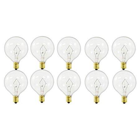 Pack of 10 40-Watt G16.5 Decorative Globe E12 Candelabra Base Clear Light Bulbs E12 Base Clear Globe Decor
