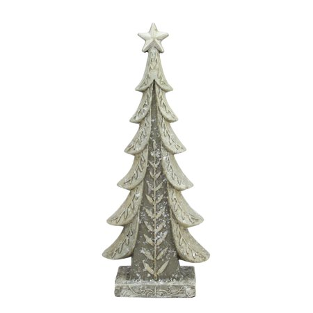 "17.5"" Vintage Inspired Distressed Cream and Taupe Christmas Tree Table Top Decoration - Walmart.com"