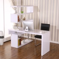 Foldable Rotating Corner Desk and Shelf Combo for Home Office