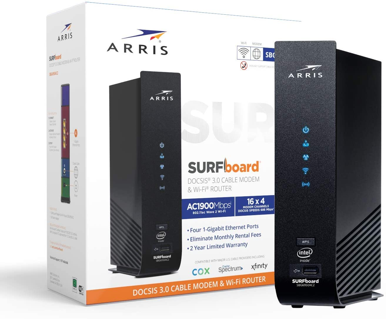 Arris Surfboard 16x4 Docsis 3 0 Cable Modem Ac1900 Dual Band Wifi Router Approved For Xfinity Comcast Cox Charter And Most Other Cable Internet Providers For Plans Up To 300 Mbps Sbg6950ac2