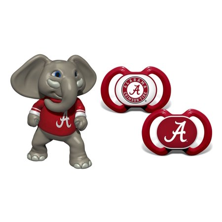 Mozlly Baby Fanatic University of Alabama Pacifiers (2pc Set) and Mascot Minis Alabama Big Al Teether Toddler Sports Accessories