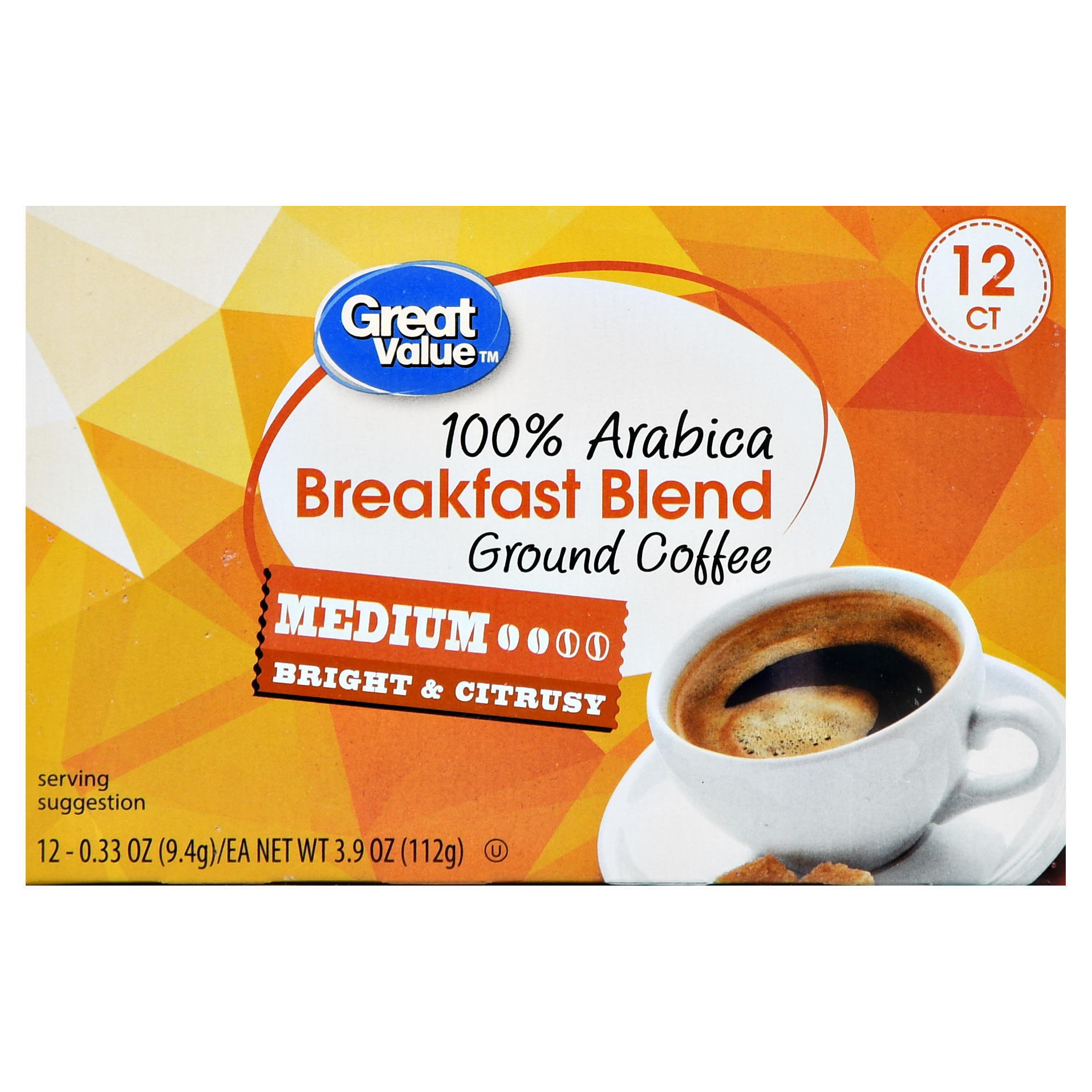 Great Value Breakfast Blend Ground Coffee Single Serve Cups, Medium Roast, 12 Count