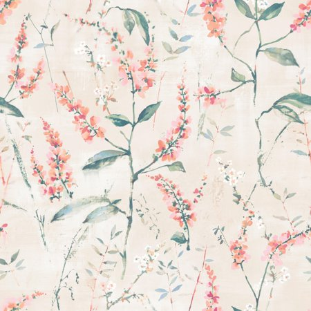 Coral Floral Sprig Peel and Stick Wallpaper (Pink Striped Wallpaper Border)