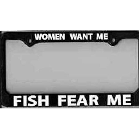 License plate frame women want me fish fear me for Fishing license walmart