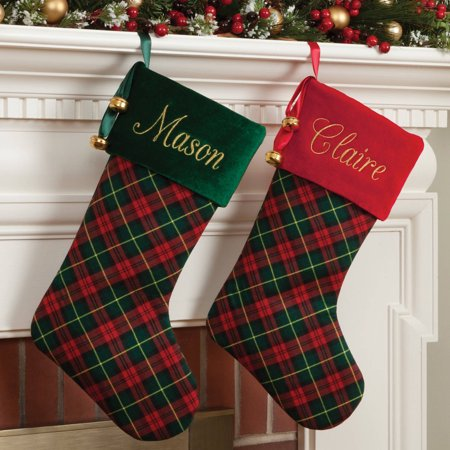 Personalized Plaid Stocking Available In Multiple Colors - Personalized Stocking