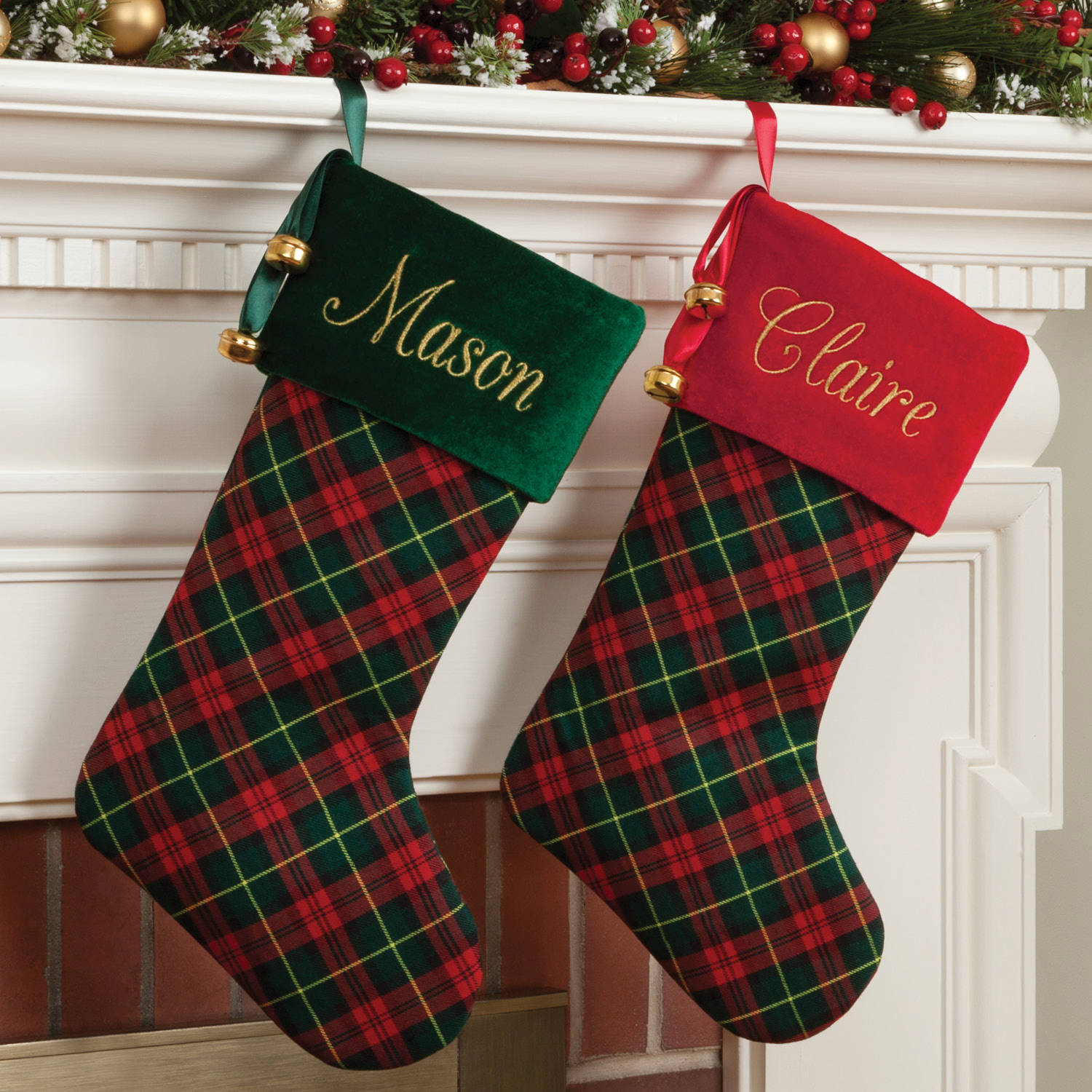 Personalized Plaid Stocking Available In Multiple Colors