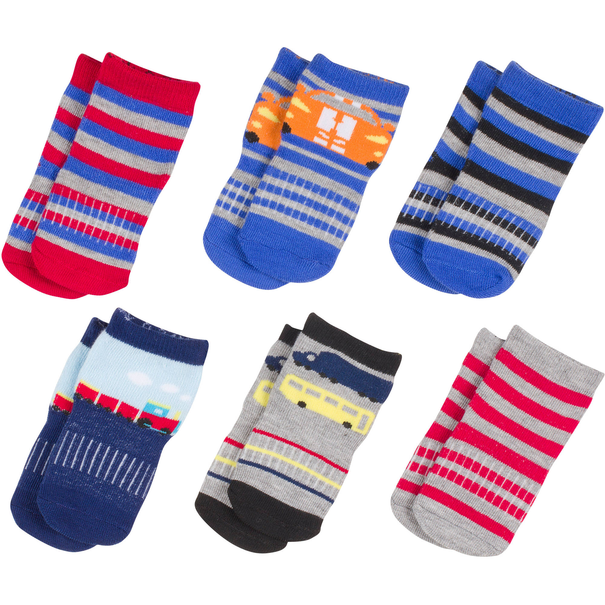 Growing Socks by Peds, Boy Infant, Cars, 6 Pairs