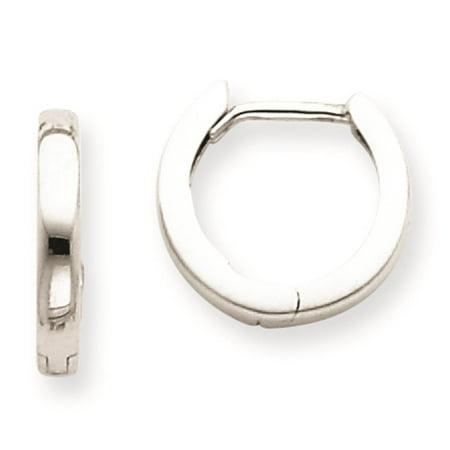 Mens Las Solid 14k White Gold Polished Hinged Hoop Earrings 9mm X 2mm