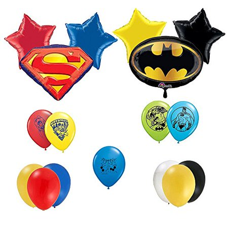 Superman Vs Batman  Party Supplies Deluxe Party Balloons Decorations Set (Superman Party Decorations)