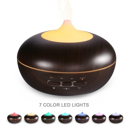 LUCKLED 300ml Aroma Essential Oil Diffuser with Microwave Induction Ultrasonic Humidifier,Air Purifier-Wooden Color (7 Colors Changing)