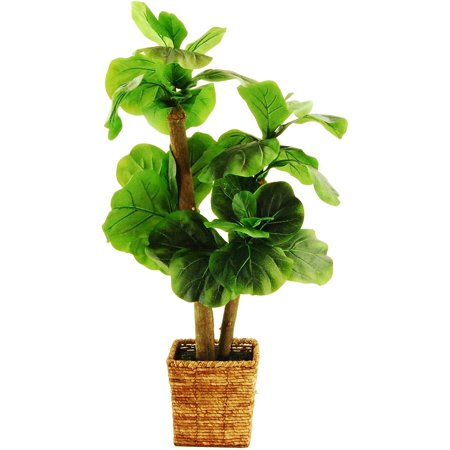 38 artificial mini fiddle leaf fig tree in a square basket with faux dirt