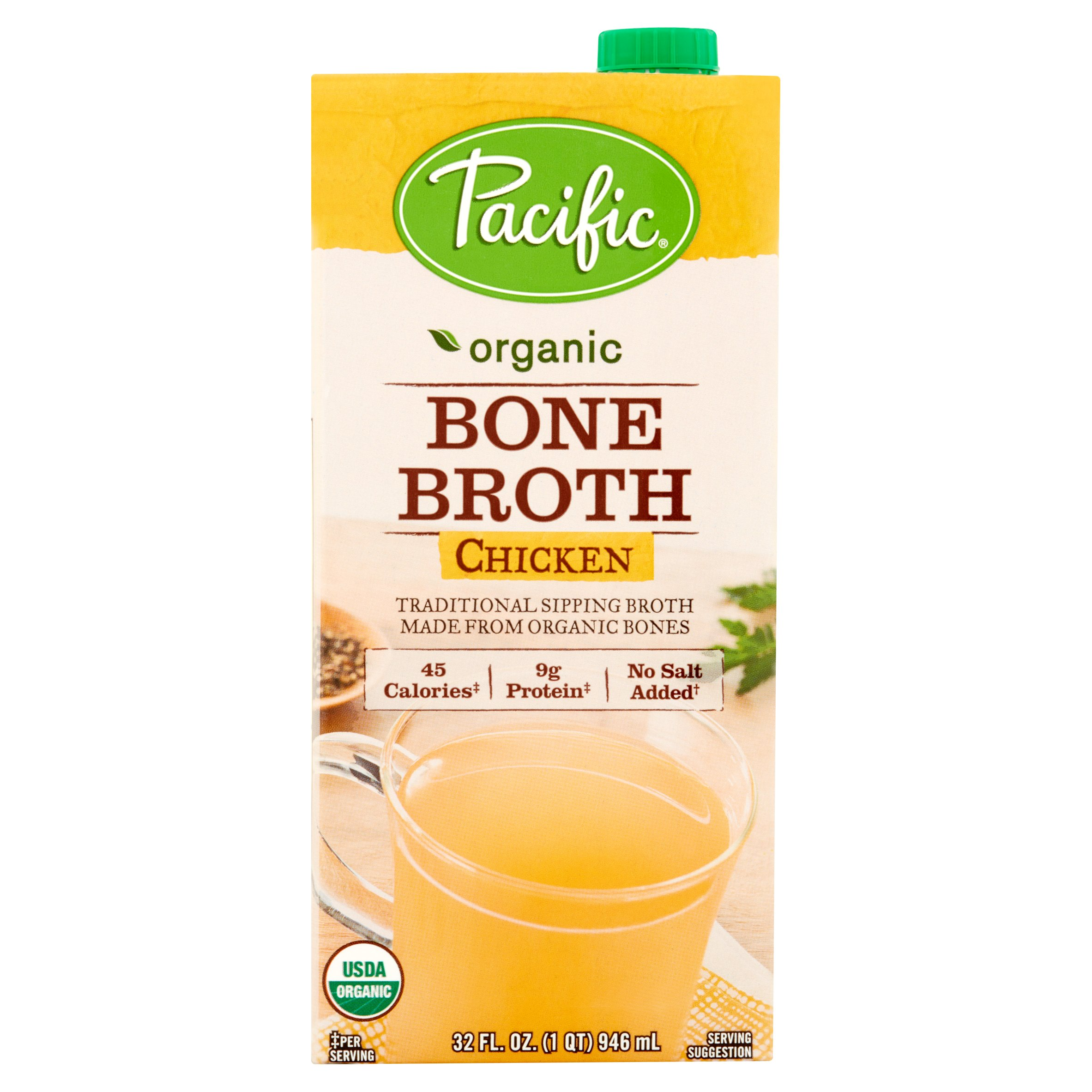 Pacific Foods Bone Broth Chicken Org,32 Oz (Pack Of 12)